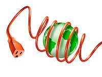 Extension Cord Wrapped Around Globe    Stock Photo - Premium Rights-Managednull, Code: 700-01694250