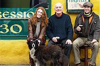 Couple and Man by Pub with Dog, Ireland    Stock Photo - Premium Rights-Managednull, Code: 700-01694910