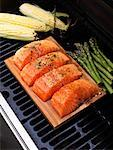 Fish, Asparagus and Corn on Grill    Stock Photo - Premium Royalty-Free, Artist: Edward Pond, Code: 600-01695070