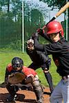 A baseball batter in front of a baseball catcher and umpire Stock Photo - Premium Royalty-Free, Artist: Aflo Sport               , Code: 653-01697533