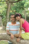Portrait of a young couple smiling Stock Photo - Premium Royalty-Freenull, Code: 630-01708074