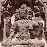 Statues of Hindu gods in a cave, Ellora, Aurangabad, Maharashtra, India