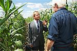 Farmer and Businessman in Cornfield