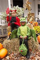 Portrait of Boy Dressed-up as Dragon with Boy Dressed-up as Devil    Stock Photo - Premium Royalty-Freenull, Code: 600-01717685