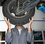 Car mechanic standing behind wheel Stock Photo - Premium Royalty-Free, Artist: Blend Images, Code: 618-01738084