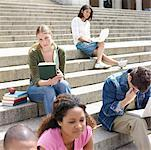Young students sitting on steps outdoors Stock Photo - Premium Royalty-Freenull, Code: 618-01738132