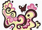 Flowery pattern with butterfly Stock Photo - Premium Royalty-Freenull, Code: 645-01740437