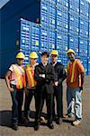 Workers and businessman with cargo containers Stock Photo - Premium Royalty-Free, Artist: Matthias Tunger, Code: 604-01742416