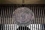 Close-up of a shield of Hawaiian state, Hawaii State Capitol, Honolulu, Oahu, Hawaii Islands, USA Stock Photo - Premium Royalty-Free, Artist: Robert Harding Images    , Code: 625-01750977