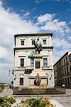 Low angle view of a statue in front of a building, Giuseppe Garibaldi, Florence, Italy