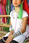 Close-up of a girl wearing a neckring, Chiang Khong, Thailand Stock Photo - Premium Royalty-Free, Artist: Aurora Photos, Code: 625-01753036