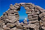 Lake viewed through a stone wall, Lake Titicaca, Taquile Island, Puno, Peru Stock Photo - Premium Royalty-Freenull, Code: 625-01753161