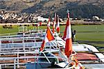 Close-up of Peruvian flags on boats in a lake, Lake Titicaca, Puno, Peru Stock Photo - Premium Royalty-Freenull, Code: 625-01753351