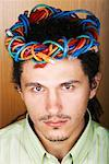 Businessman with Crown of Ethernet Cables on Head    Stock Photo - Premium Rights-Managed, Artist: Masterfile, Code: 700-01764249