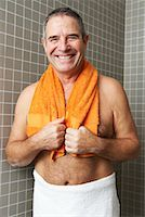 Portrait of Man in Bathroom Stock Photo - Premium Royalty-Freenull, Code: 600-01764509