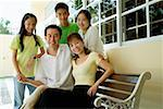 Family with three children, smiling at camera Stock Photo - Premium Royalty-Freenull, Code: 656-01769268
