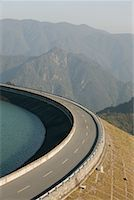 road landscape - Highway on Dam, China    Stock Photo - Premium Rights-Managednull, Code: 700-01788202