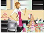 Woman in kitchen with sweets Stock Photo - Premium Royalty-Freenull, Code: 645-01826281
