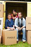 Friends with Van and Moving Boxes    Stock Photo - Premium Royalty-Free, Artist: Masterfile, Code: 600-01827095