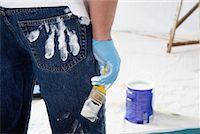 Painter with Paint Brush    Stock Photo - Premium Royalty-Freenull, Code: 600-01827113