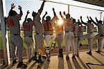 Baseball Players Cheering in Dugout    Stock Photo - Premium Rights-Managed, Artist: Masterfile, Code: 700-01838357
