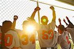 Baseball Players Cheering in Dugout    Stock Photo - Premium Rights-Managed, Artist: Masterfile, Code: 700-01838358
