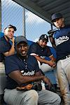 Portrait of Baseball Players in Dugout    Stock Photo - Premium Rights-Managed, Artist: Masterfile, Code: 700-01838416