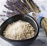 Still Life of Bowl of Bath Salts and Lavender Sprigs    Stock Photo - Premium Royalty-Free, Artist: Marnie Burkhart, Code: 600-01838655