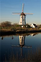 Reflection of Windmill in Canal, Damme, West Flanders, Belgium    Stock Photo - Premium Rights-Managednull, Code: 700-01838639