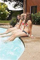 Teenage girls sitting at poolside Stock Photo - Premium Royalty-Freenull, Code: 621-01839477