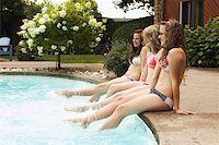 Teenage girls sitting at poolside Stock Photo - Premium Royalty-Freenull, Code: 621-01839478