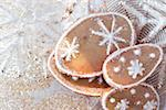 Orange biscuits with snow crystals Stock Photo - Premium Royalty-Free, Artist: foodanddrinkphotos, Code: 659-01843401