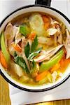 Chicken soup with vegetables in saucepan Stock Photo - Premium Royalty-Freenull, Code: 659-01845139