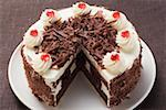 Black Forest gateau, a piece taken Stock Photo - Premium Royalty-Freenull, Code: 659-01846285