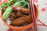 Chicken wings with rice and pak choi (Asia) Stock Photo - Premium Royalty-Freenull, Code: 659-01847975