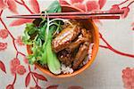 Chicken wings with rice and pak choi (Asia) Stock Photo - Premium Royalty-Freenull, Code: 659-01847977