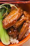 Chicken wings with rice and pak choi (Asia) Stock Photo - Premium Royalty-Freenull, Code: 659-01847978