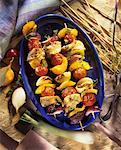 Grilled poultry and vegetable kebabs Stock Photo - Premium Royalty-Freenull, Code: 659-01851722