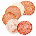 Slices of various types of sausage Stock Photo - Premium Royalty-Free, Artist: vvoennyy                      , Code: 659-01855857