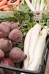 Beetroot and radishes in a crate at a market Stock Photo - Premium Royalty-Freenull, Code: 659-01858842