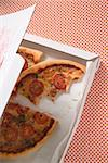 Cheese & tomato pizza with oregano (quartered) in pizza box Stock Photo - Premium Royalty-Freenull, Code: 659-01859964