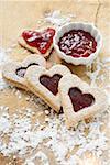 Heart-shaped biscuits filled with raspberry jam Stock Photo - Premium Royalty-Free, Artist: foodanddrinkphotos, Code: 659-01860789