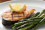 Grilled salmon cutlet with green asparagus Stock Photo - Premium Royalty-Free, Artist: F1Online, Code: 659-01863393