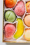 Marzipan fruits in chocolate box (detail) Stock Photo - Premium Royalty-Free, Artist: foodanddrinkphotos, Code: 659-01863949
