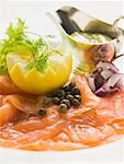 Smoked salmon with capers, lemon and mustard & dill sauce Stock Photo - Premium Royalty-Freenull, Code: 659-01863976