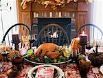 Stuffed turkey on Thanksgiving table (USA) Stock Photo - Premium Royalty-Free, Artist: Susan Findlay, Code: 659-01864739