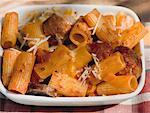 Rigatoni with sausage, tomato sauce and cheese Stock Photo - Premium Royalty-Free, Artist: foodanddrinkphotos, Code: 659-01866393