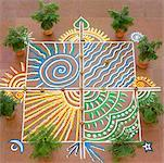 High angle view of a rangoli Stock Photo - Premium Royalty-Free, Artist: Janet Bailey, Code: 630-01873598