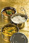 Close-up of tiffin boxes of rice and curry Stock Photo - Premium Royalty-Free, Artist: Photocuisine, Code: 630-01875671