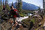 Heli-Hikers Crossing Stream, Bugaboo Mountains, British Columbia, Canada    Stock Photo - Premium Rights-Managed, Artist: Mike Randolph, Code: 700-01878779